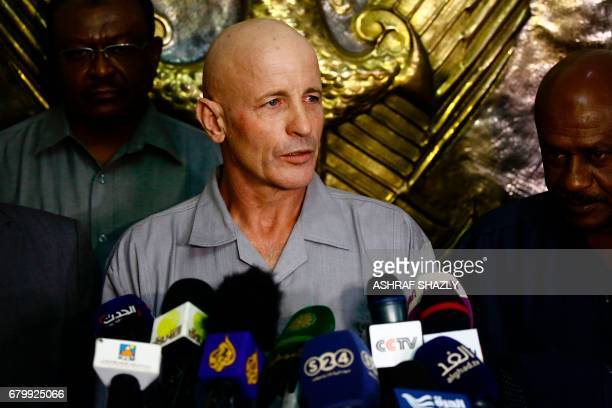 Thierry Frezier, a French mineworker who was kidnapped in southeastern Chad on March 23, speaks to the press following his arrival at Khartoum...