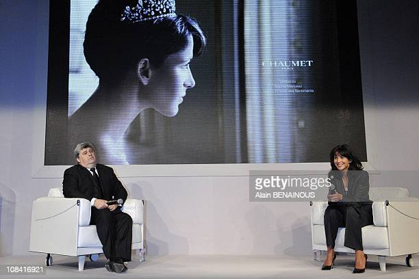 Thierry Fritsch chairman of Chaumet with Sophie Marceau in Paris France on October 02nd 2008