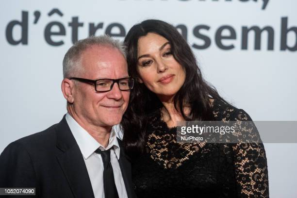Thierry Frémaux Monica Bellucci during the opening ceremony of 10th edition of Lumiere Festival in Lyon France on October 13 2018