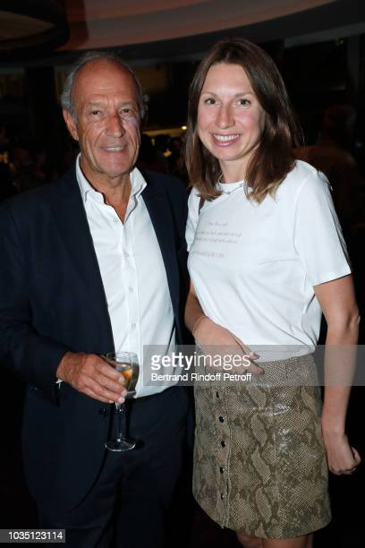 Thierry Gaubert and Alina Achkasova attend the Cocktail at Hotel Barriere Le Fouquet's after 'Les Chatouilles' Premiere hosted by Fondation Diane...