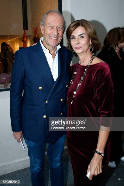 Thierry Gaubert and Artist Rose de Ganay attend the Rose De Ganay Exhibition Preview at Atelier Visconti on April 20 2017 in Paris France