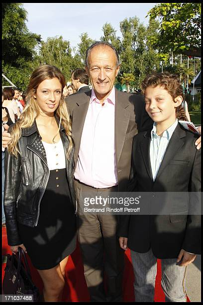 Thierry Gaubert and his children Milena and Leopold at Jardin D'Acclimatation 150th Anniversary With Les Echos Des Fanfares