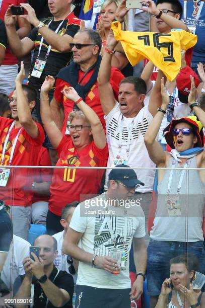 Thierry Hazard and Carine Hazard parents of Eden Hazard of Belgium celebrate the goal of their son securing the victory during the 2018 FIFA World...