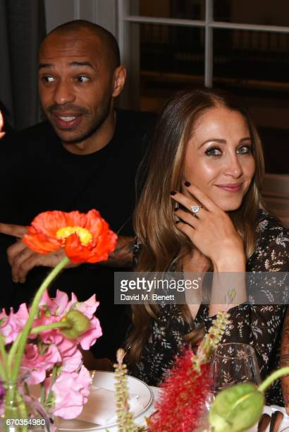 Thierry Henry and Andrea Rajacic attend a VIP dinner celebrating the private view of The Maddox Gallery's Bradley Theodore exhibition at The Arts...