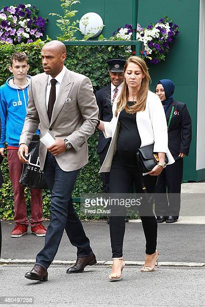 Thierry Henry and Andrea Rajacic seen arriving at Wimbledon on July 12 2015 in London England
