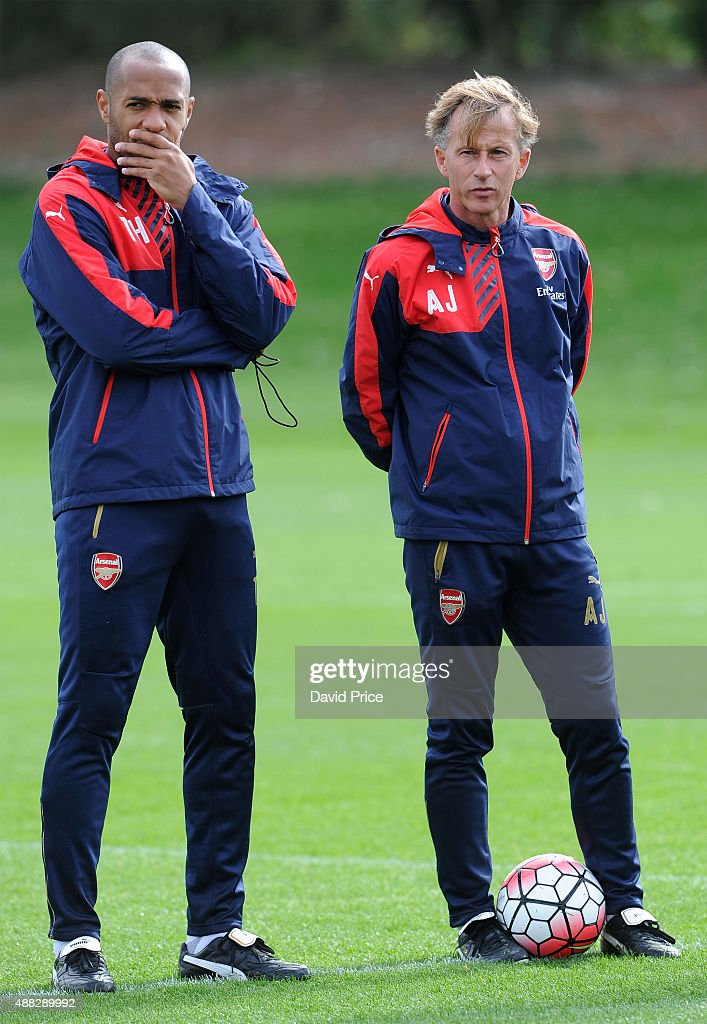 Thierry Henry and Andries Jonker the Arsenal Academy Director during the U19 training session at London Colney on September 15, 2015 in St Albans, England.