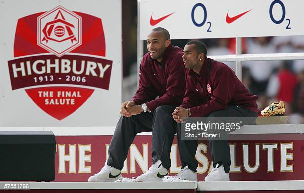 Thierry Henry and Ashley Cole of Arsenal share a joke after the Barclays Premiership match between Arsenal and Wigan Athletic at Highbury on May 7...