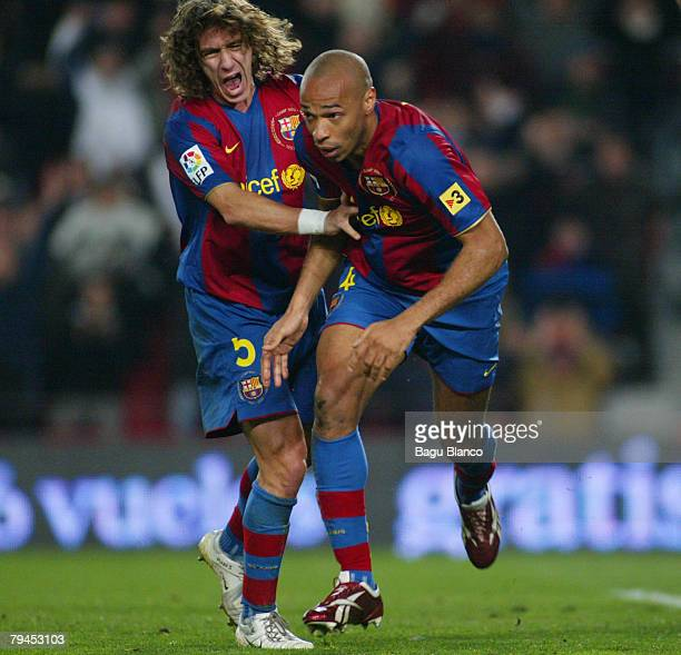 Thierry Henry and Carles Puyol celebrate Henry's goal during the Copa del Rey's match between FC Barelona and Villarreal at Camp Nou Stadium on...