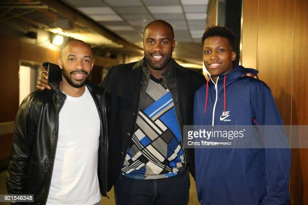 Thierry Henry and Frank Ntilikina of team Stephen pose for a photo during the NBA AllStar Game as a part of 2018 NBA AllStar Weekend at STAPLES...