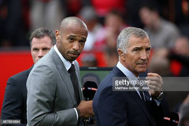 Thierry Henry and Graeme Souness working for Sky Sports Television during the Barclays Premier League match between Manchester United and Liverpool...