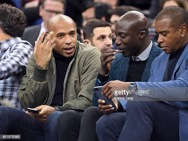 Thierry Henry and Ozwald Boateng attend the Denver Nuggets v Indiana Pacers match as part of the NBA Global Games London 2017 at The O2 Arena on...