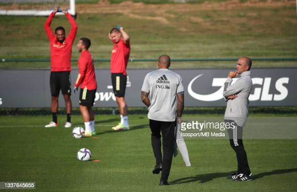 Thierry Henry, assistant coach of Belgium, and Roberto Martinez, head coach of Belgium, during a training session of the Belgian national soccer team...