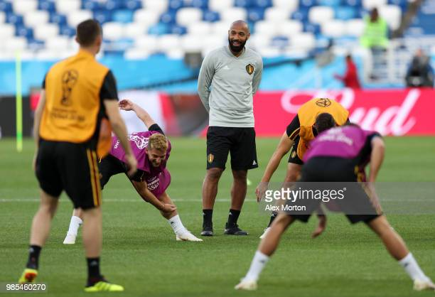 Thierry Henry Assistant Coach of Belgium during a training session at Kaliningrad Stadium on June 27 2018 in Kaliningrad Russia