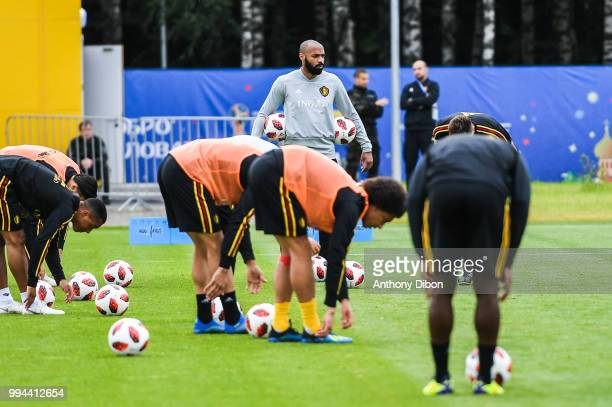 Thierry Henry assistant coach of Belgium during the Training Session of Belgium on July 9 2018 in Moscow Russia