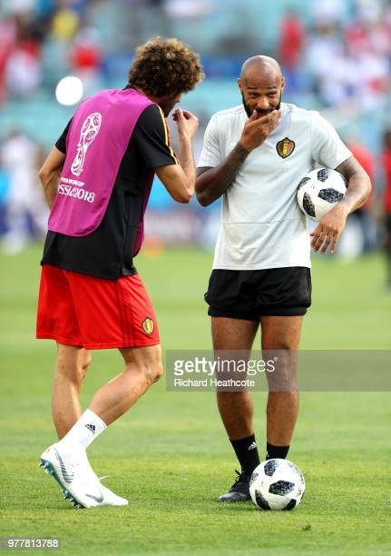 Thierry Henry Assistant Coach of Belgium speaks with Marouane Fellaini of Belgium ahead of the 2018 FIFA World Cup Russia group G match between...
