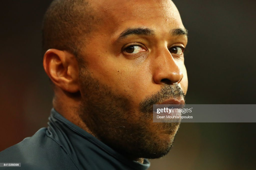 Thierry Henry assistant manager of Belgium looks on prior to the FIFA 2018 World Cup Qualifier between Belgium and Gibraltar at Stade Maurice Dufrasne on August 31, 2017 in Liege, Belgium.