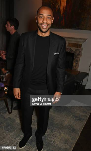 Thierry Henry attends a VIP dinner celebrating the private view of The Maddox Gallery's Bradley Theodore exhibition at The Arts Club on April 19 2017...