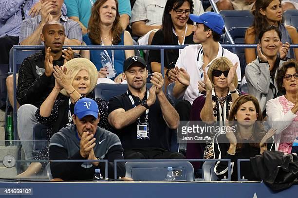 Thierry Henry, Deborra-Lee Furness, her husband Hugh Jackman, Anna Wintour, Mirka Federer attend the match between Roger Federer of Switzerland and...