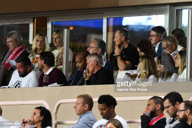 Thierry Henry former french player and Didier Deschamps coach of french national team during the Champions League match between Monaco and Atletico...