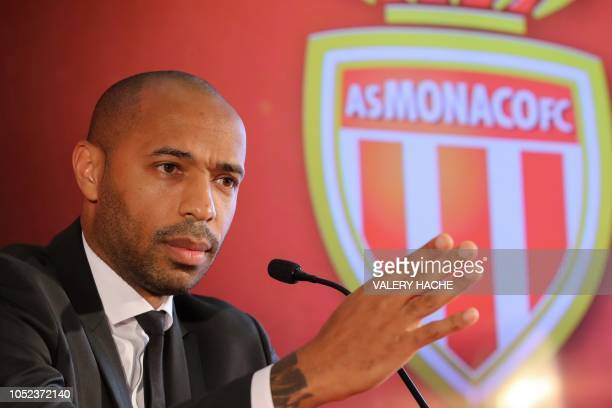 TOPSHOT Thierry Henry gives a press conference as new coach of the club of the Principality of Monaco in Monaco on October 17 2018