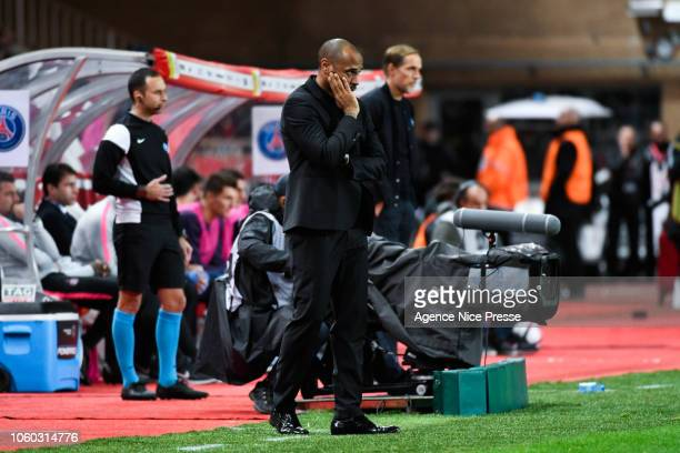 Thierry Henry head coach of Monaco during the Ligue 1 match between AS Monaco and Paris Saint Germain at Stade Louis II on November 11 2018 in Monaco...
