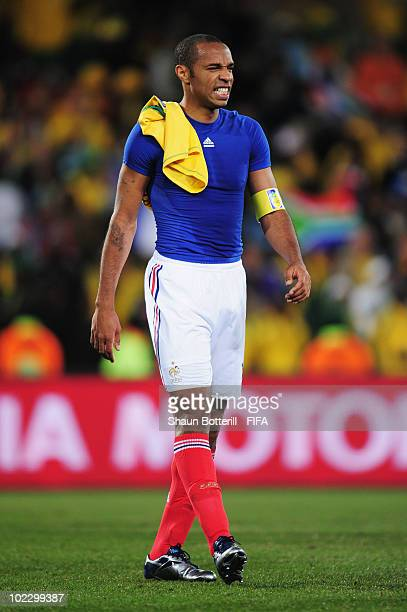 Thierry Henry leaves the field dejected after the 2010 FIFA World Cup South Africa Group A match between France and South Africa at the Free State...