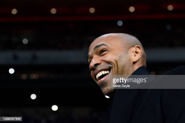 Thierry Henry Manager of Monaco looks on during the UEFA Champions League Group A match between Club Atletico de Madrid and AS Monaco at Estadio...