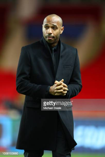 Thierry Henry, Manager of Monaco looks on prior to the Group A match of the UEFA Champions League between AS Monaco and Club Brugge at Stade Louis II...