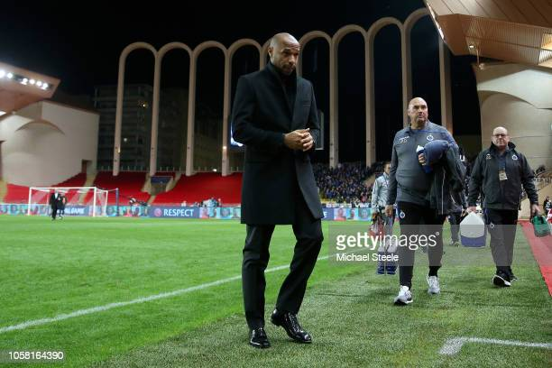 Thierry Henry Manager of Monaco looks on prior to the Group A match of the UEFA Champions League between AS Monaco and Club Brugge at Stade Louis II...