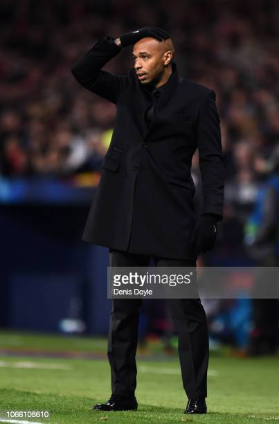 Thierry Henry, Manager of Monaco reacts during the UEFA Champions League Group A match between Club Atletico de Madrid and AS Monaco at Estadio Wanda...