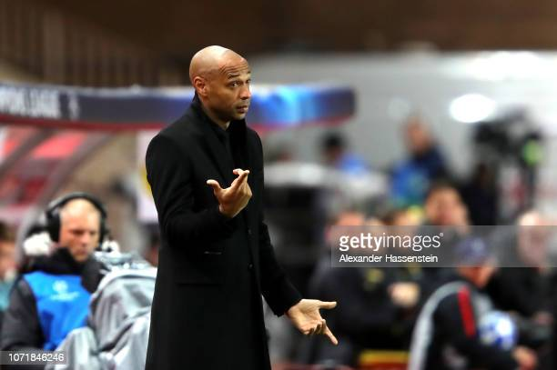 Thierry Henry Manager of Monaco reacts during the UEFA Champions League Group A match between AS Monaco and Borussia Dortmund at Stade Louis II on...