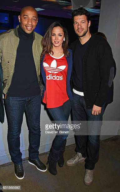 Thierry Henry Natacha Tannous and Michael Ballack attend the NBA Global Game London 2017 after party at The O2 Arena on January 12 2017 in London...