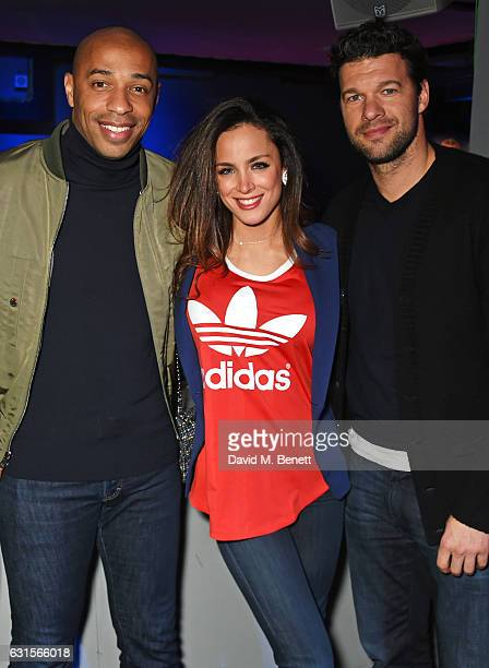 Thierry Henry, Natacha Tannous and Michael Ballack attend the NBA Global Game London 2017 after party at The O2 Arena on January 12, 2017 in London,...