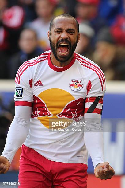 Thierry Henry, New York Red Bulls, reacts in frustration after the referee penalized him for a foul on Jermaine Jones during his side 2-1 loss during...