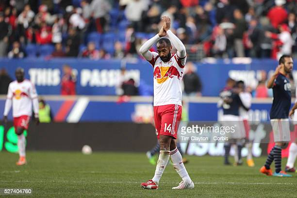 Thierry Henry, New York Red Bulls, salutes the crowd at Red Bull Arena for possibly the last time as he leaves the field after his sides 2-1 loss...
