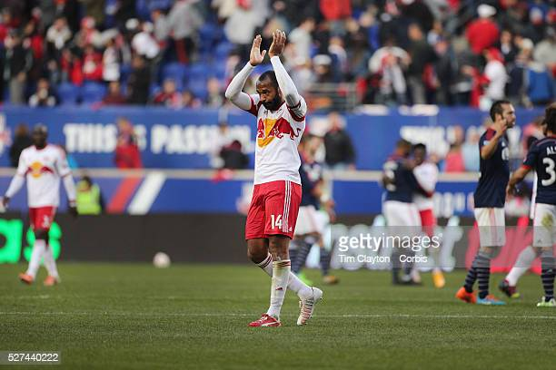 Thierry Henry New York Red Bulls salutes the crowd at Red Bull Arena for possibly the last time as he leaves the field after his sides 21 loss during...