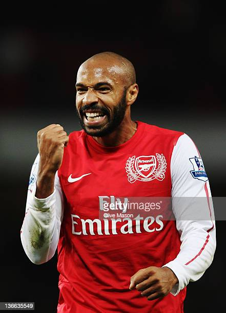 Thierry Henry of Arsenal celebrates at the end of the FA Cup Third Round match between Arsenal and Leeds United at the Emirates Stadium on January 9,...