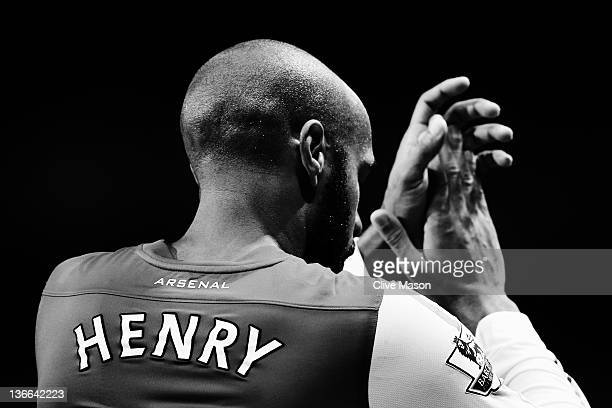 Thierry Henry of Arsenal celebrates at the end of the FA Cup Third Round match between Arsenal and Leeds United at the Emirates Stadium on January 9...
