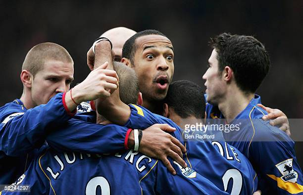 Thierry Henry of Arsenal celebrates Frederik Ljungbergs goal during the Barclays Premiership match between Southampton and Arsenal at St Marys...