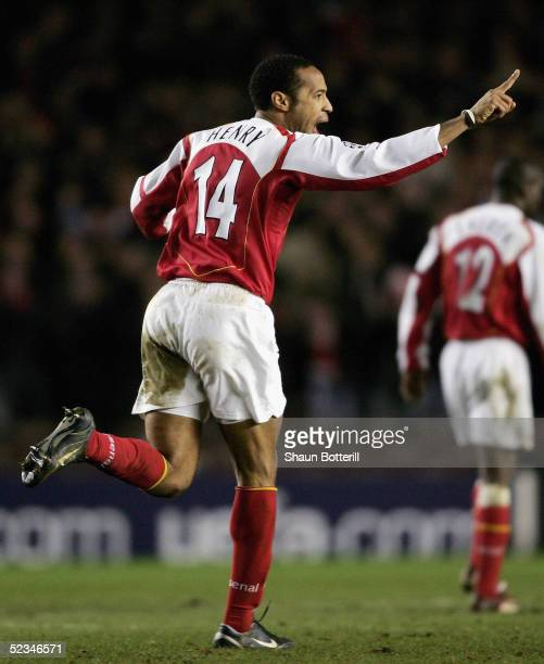 Thierry Henry of Arsenal celebrates scoring a goal during the UEFA Champions League First Knockout Round Second Leg match between Arsenal and Bayern...