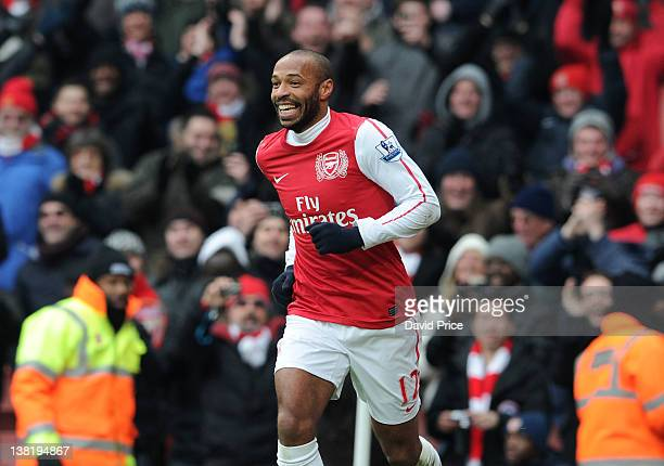 Thierry Henry of Arsenal celebrates scoring Arsenal's 7th goal during the Barclays Premier League match between Arsenal and Blackburn Rovers at...