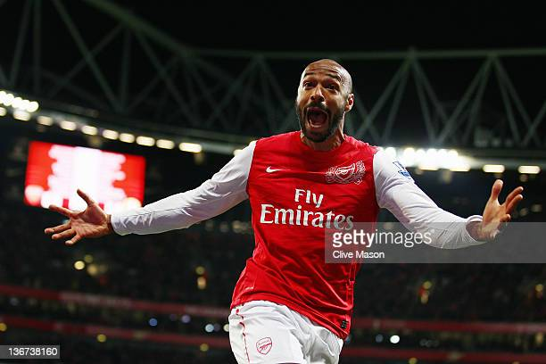 Thierry Henry of Arsenal celebrates scoring during the FA Cup Third Round match between Arsenal and Leeds United at the Emirates Stadium on January...