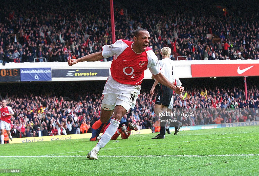 Thierry Henry of Arsenal celebrates scoring his 2nd goal against Liverpool, at Highbury Stadium on May 15, 2004 in London, United Kingdom.