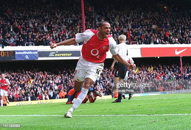 Thierry Henry of Arsenal celebrates scoring his 2nd goal against Liverpool at Highbury Stadium on May 15 2004 in London United Kingdom