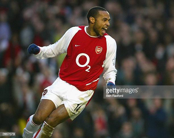 Thierry Henry of Arsenal celebrates scoring the fisrt goal for Arsenal during the FA Barclaycard Premiership match between Arsenal and Middlesbrough...