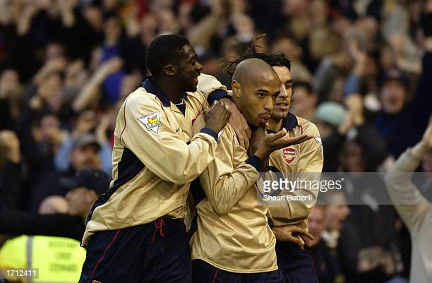 Thierry Henry of Arsenal celebrates scoring the winning goal during the FA Barclaycard Premiership match between West Bromwich Albion and Arsenal...