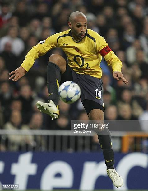 Thierry Henry of Arsenal controls the ball during a UEFA Champions League match between Real Madrid and Arsenal at the Santiago Bernabeu stadium on...