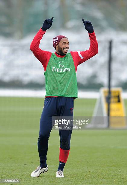 Thierry Henry of Arsenal during a training session at London Colney on February 10, 2012 in St Albans, England.