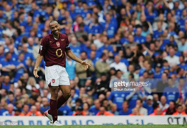 Thierry Henry of Arsenal during the Barclays Premiership match between Arsenal and Wigan Athletic at Highbury on May 7 2006 in London England The...