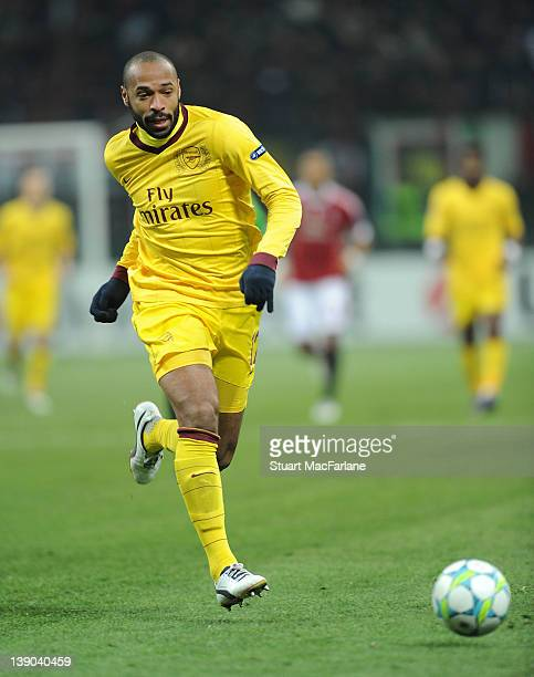 Thierry Henry of Arsenal during the UEFA Champions League Round of 16 match between AC Milan and Arsenal FC at San Siro Stadium on February 15 2012...